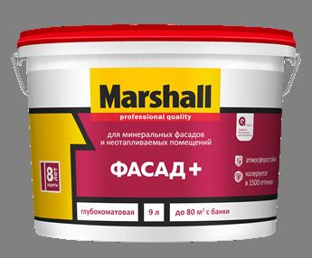 Краска 'Marshall' Фасад+ в/д для фасадных поверхностей глубокомат 9л