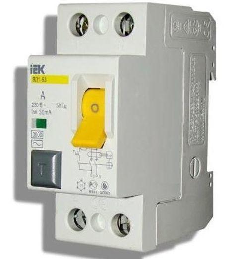 Выключатель дифференциальный ВД1-63 (УЗО) 2Р 25А 30мА | MDV10-2-025-030 | И